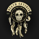 Biker Skull Death Catcher Logo. For printing on textile royalty free illustration